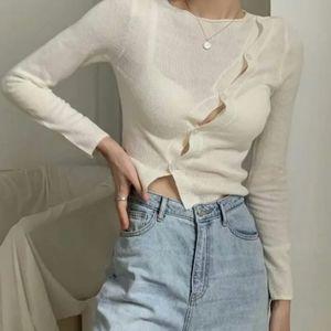 Asymmetrical cream button up sweater/ cardigan